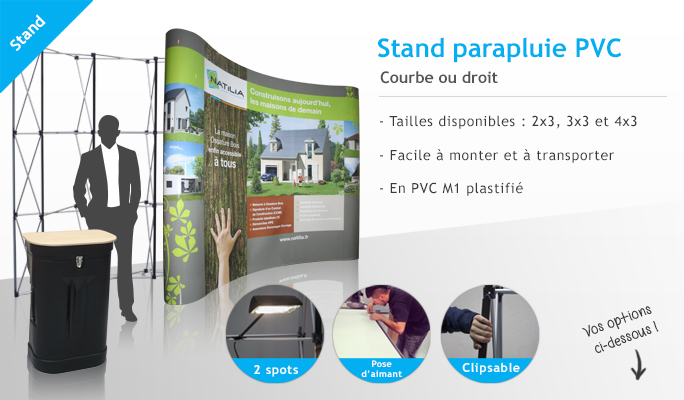 plv expo stand stands comptoirs parapluie pvc