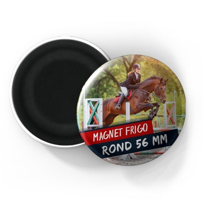 Magnet rond bombé 56 mm - Finition brillante