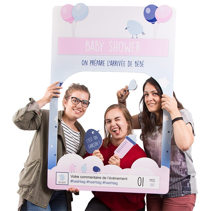 "Cadre à Selfie ""Photo Booth"" Personnalisable (Baby Shower)"