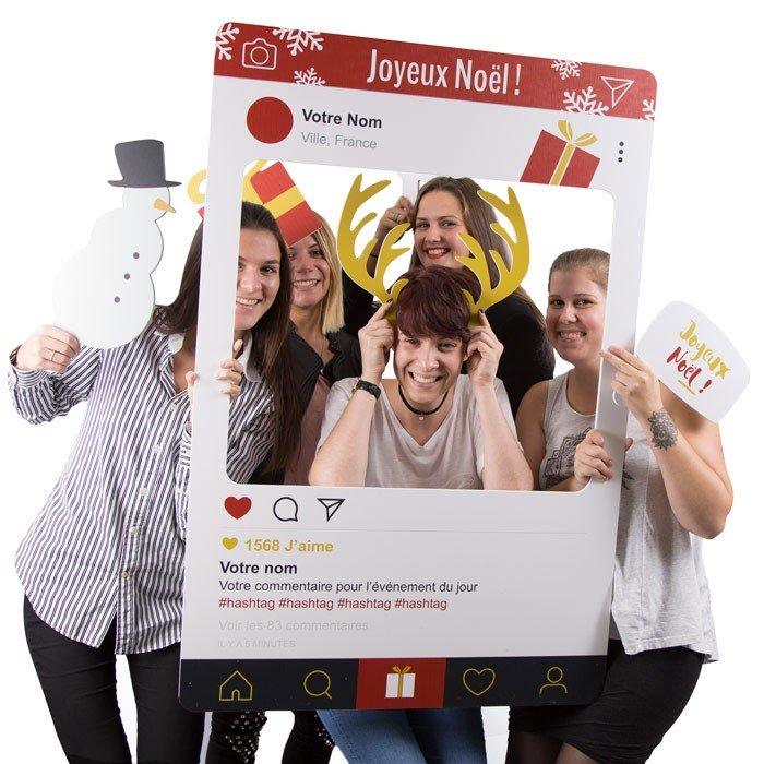 "Cadre à Selfie ""Photo Booth"" Noël (Rouge)"