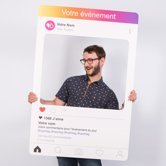 "Cadre à Selfie ""Photo Booth"" Personnalisable (Type Instagram)"