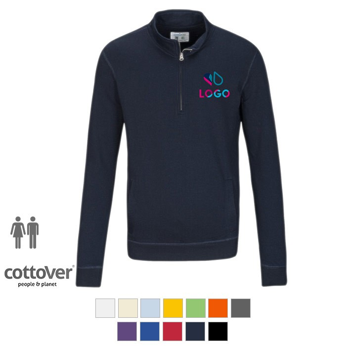 Sweat à col zippé de CottoVer® - Impression cœur