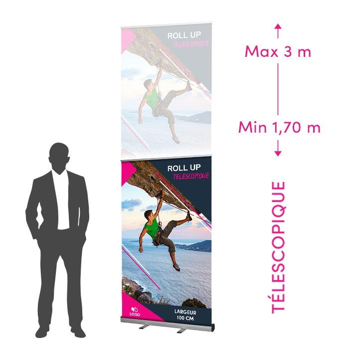 Roll-Up Télescopique de 100 cm de Large - 1 ex